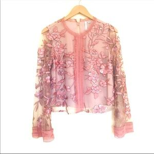 Forever New Mauve Floral Embroidered Lace Blouse